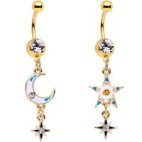 Clear Gem Gold PVD White Moon Star Dangle Belly Ring Set of 2