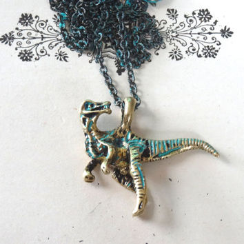 1- Dinosaur Necklace T Rex Distressed Turquoise Dino Antique Chain Jurassic Park Dino Jewelry Mens and Womens Gifts