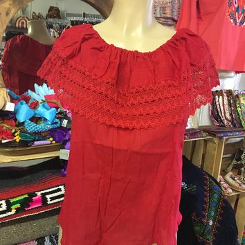 Mexican Campesina Top Red Off-Shoulder