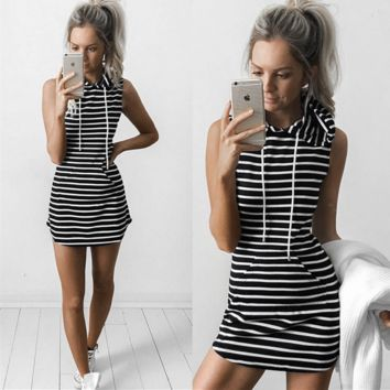 Fashion Casual Stripe Pocket Sleeveless Hooded Mini Dress
