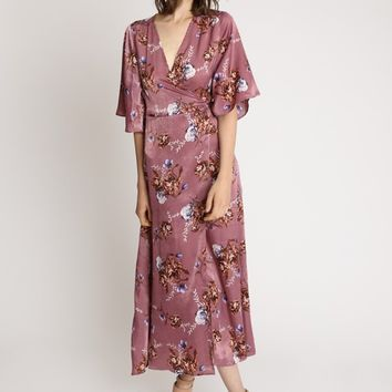 Autumn In Paris Floral Satin Maxi Dress | Ruche