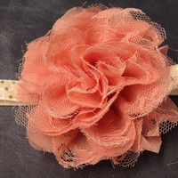 Coral Lace and Chiffon Flower Headband-Baby Toddler Girl-NewBorn Photography Prop