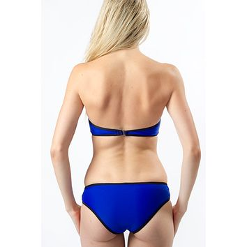 Color Block Bikini Bottom - Electric Blue