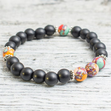 Matte black onyx and colorful beaded stretchy bracelet, mens bracelet, womens bracelet