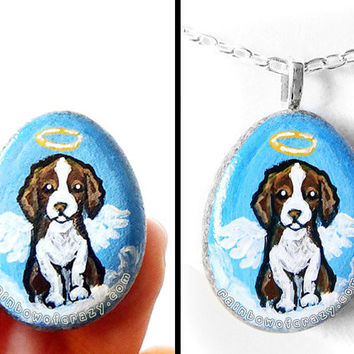 Springer Spaniel Dog Necklace, Cocker Spaniel Art Pendant, Hand Painted Rock, Beach Stone, Angel Jewelry, Memorial Painting, Pet Loss Gift