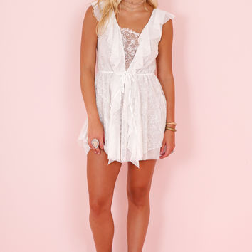 FOR LOVE AND LEMONS | Stardust Lace Drawstring Dress - White
