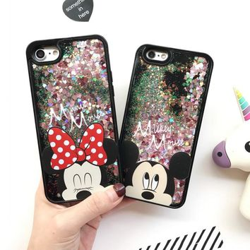 Cute Dynamic Glitter Stars Liquid Dynamic Mickey Minnie Mouse Cover For iPhone 5 5S SE 6 6S 7 Plus Cases Soft Capa Coque Fundas