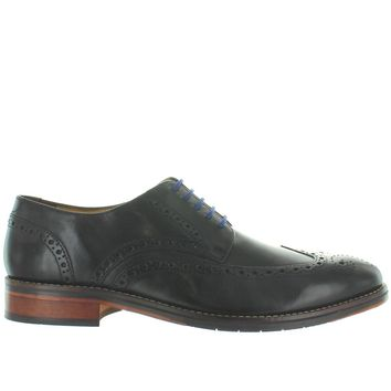Florsheim Salerno Wing Ox - Black Leather Perforated Wing Tip Oxford