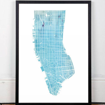 New York poster, Watercolor print, Manhattan poster, New York art print, Modern poster, Home decor, Map print, Map poster, Modern print, A3