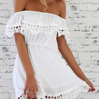 White Lace Frill Off Shoulder Elastic Waist Dress - Choies.com