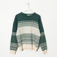 green & cream nordic knit sweater / wintery wool pullover / size L