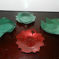 Four SIGNED Hammered Aluminum Neocraft 1950's Candy Dishes