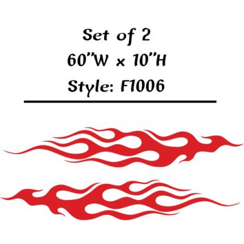 "Vehicle Tribal Flames Vinyl Decal Sticker Car Truck Boat Graphics Racing - STYLE F1006 - Set of (2) 60""W X 10""H"