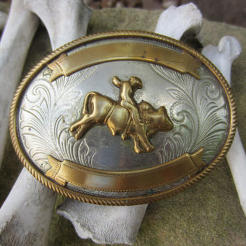 70s Bull Riding Rodeo Award Belt Buckle // Vintage Western Belt Buckle in German Silver