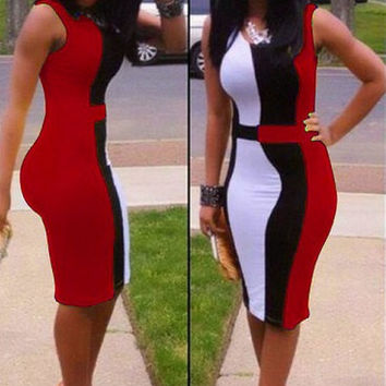 Red Sleeveless Spandex Dress with White and Black designs