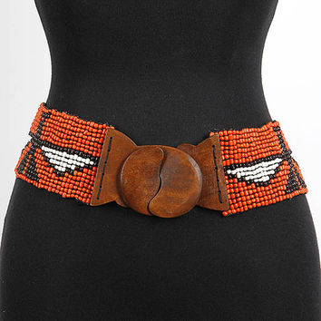 Eagle Printed Bead Belt
