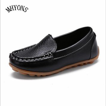 MHYONS 2017 New Fashion Kids shoes all Size 21-30 Children PU Leather Sneakers For Baby shoes Boys/Girls Boat Shoes Slip On Soft