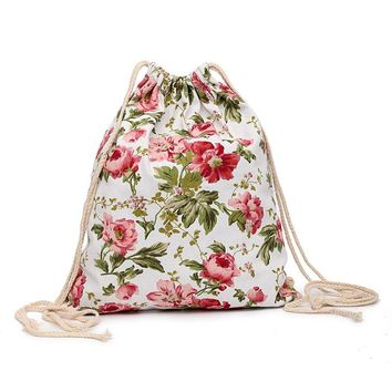 Flowers Drawstring Bags Cinch String Backpack Funny Funky Cute Novelty