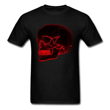 Men Black Red T-shirt Cool Skull No Fade Print
