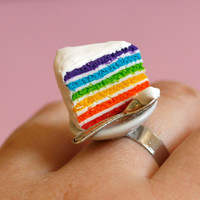 Rainbow cake ring with teaspoon miniature food Polymer clay