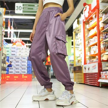 Women Simple Fashion Solid Color Satin Leisure Pants Trousers Sweatpants
