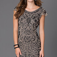 Short Beaded Party Dress with Cap Sleeves