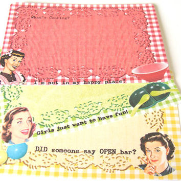 Mid Century Recipe Cards - Set of 12 - Retro Cards - 1950's Housewives - Funny Recipe Cards - Retro Kitchen - Gingham Lace