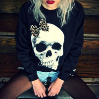 Skull Leopard Print Bow Black Jumper NOW ON SALE! RRP £38 | Alice takes a trip