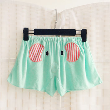 Mint Green Elephant Shorts