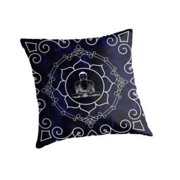 'Buddha Lotus Mandala' Throw Pillow by ImageMonkey
