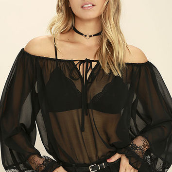 All Night Sheer Black Off-the-Shoulder Top