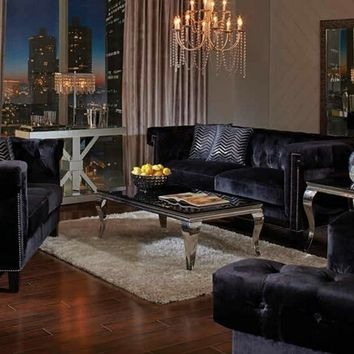 2 pc reventlow collection traditional style black velvet fabric upholstered button tufted back sofa and love seat set