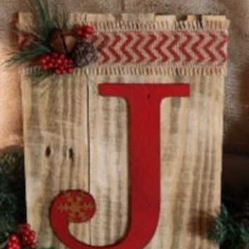 Rustic Repurposed Pallet Wood Christmas Joy  Holiday Red Chevron  Decorative Sign