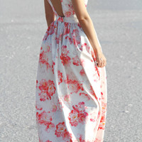Pink peonies satin dress with open back