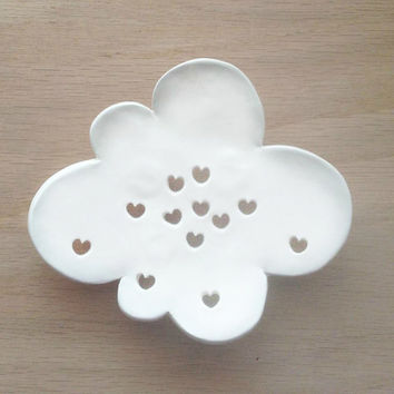 Cloud Ceramic Soap Dish - White Soap Dish for Kitchen And Bath - Whimsical Bath Soap Dish - Cute Soap Dish - Cloud Plate - Soap Plate