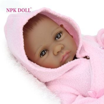 10 inch African American Baby Doll Black Girl Full Silicone Body Reborn Baby Dolls Ethnic Alive Dolls