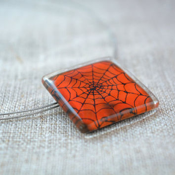 Halloween necklace - Fused glass pendant - Spider Orange pendant - Fused glass - Fused glass necklace - Halloween jewelry - Funny pendant