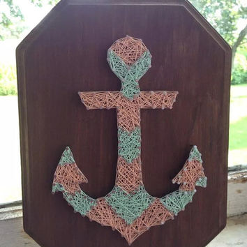 Chevron Anchor Custom String Art Design, beach string art, nautical string art, baby gift, beach house, coral and mint, custom colors