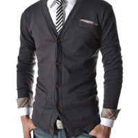 TheLees Mens Casual Slim Fit Check Patched 72 Cardigan