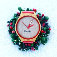 WOODIES Red Rimmed Bamboo Wood Watch