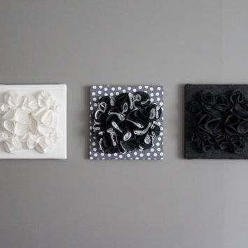 Three Wall Art Canvases, Gray and White, 3D Wall Hangings, Felt, Three 12x12 Lace, Felt, and Cloth Wall Art, Nursery, Baby Art