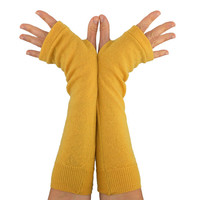 Arm Warmers in Dandelion Yellow Merino - Recycled Wool - Fingerless Gloves