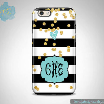 Monogram iPhone 6 case, Personalized iPhone 6s case 6 plus Samsung S6 Edge S5 S4, Black White Stripes Gold Confetti Baby Blue Monogram (27)