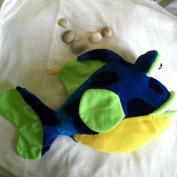 Whale Plush Toy Vintage Stuffed Sea Animal Yellow Blue Green Large Fish Plushie Whale Child's Room Decor Children's Stuffed Animal Gift
