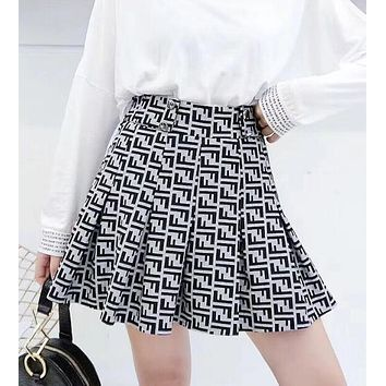 FENDI Autumn Winter Newest Fashion Women Retro F Letter Temperament Slim Skirt
