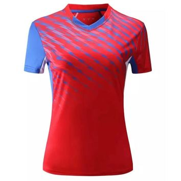 Sport Gym Quick Dry breathable soccer badminton shirt Jerseys,Women table tennis clothes team game training running T Shirts