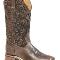 Boulet Floral Embossed Cowgirl Boots - Square Toe - Sheplers