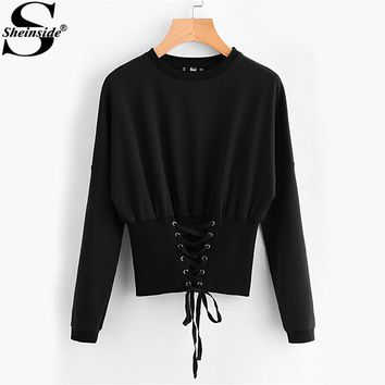 Sheinside Black Tunic Sweatshirt 2017 Eyelet Lace Up Women Long Sleeve Crop Top Fashion Wide Hem Casual Ladies Sweatshirt