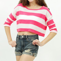 3/4 sleeve knitted pink & white stripe crop top