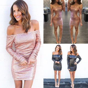 Sexy Long Sleeve Bling Bling One Piece Dress [9694835535]